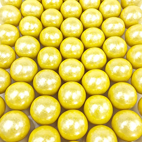 "Shimmer Yellow Gumballs - 2 Pound Bags - Large - One Inch in Diameter - About 120 Gumballs Per Bag - Free ""How To Build a Candy Buffet"" Guide Included"