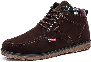 New Warm Men's Shoes Korean Men's Shoes to Keep Warm High Band Tie Square Men's Cotton Shoes Men (Color : Yellow, Size : 40)