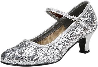 BOZEVON Women's Round Toe Glitter Sequins Ballroom Latin Dance Shoes