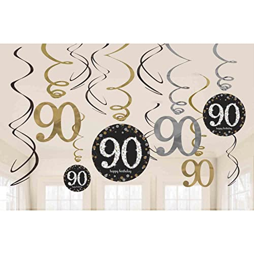 90th Birthday Party Hanging Swirl Decorations
