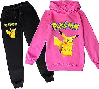 ZKDT Sudadera con capucha unisex de Pokemon para niños, con bonito estampado, de manga larga y pantalón de chándal 3 a 14