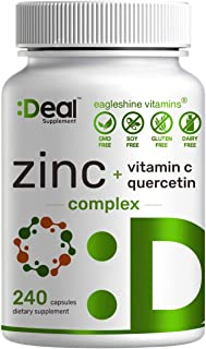 Zinc 50mg with Vitamin C & Quercetin, 4-1 Zinc Complex, 240 Capsules, Immune Support- Up To 8 Months Supply, Premium Zinc ...