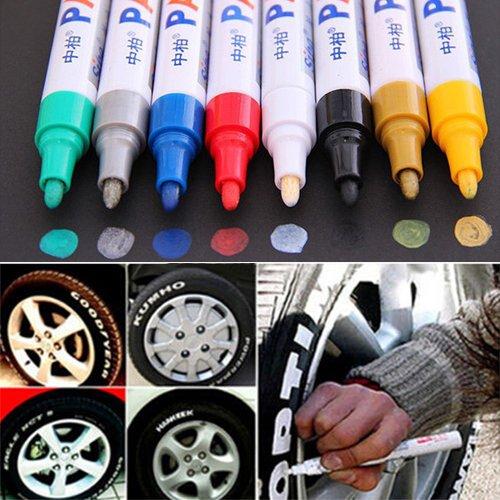 Kuizhiren1 Lackmarker, 12 Farben, wasserdicht, für Autoreifen, Reifenprofil, Gummi, Metall, Permanentlackstift rot