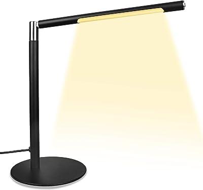 Lámpara de escritorio LED, lámpara de mesa, lámpara de oficina, regulable, 3 niveles de brillo × 3 modos de color para casa, oficina, dormitorio, lectura, trabajo, aprendizaje (cálida)