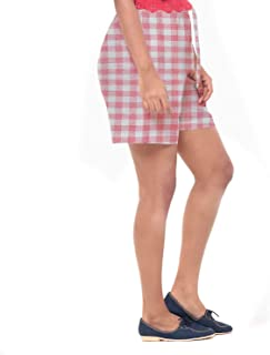 EASY 2 WEAR ® Women Checks Shorts -Loose Fit (XS to 4XL) - (White/Pink Checks)