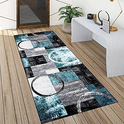 Tappeto Passatoia Cucina Antiscivolo Lavabile 60x250cm Moderno Ingresso Tappeto Runner Corridoio Grigio Blu, Dimensioni Personalizzabili