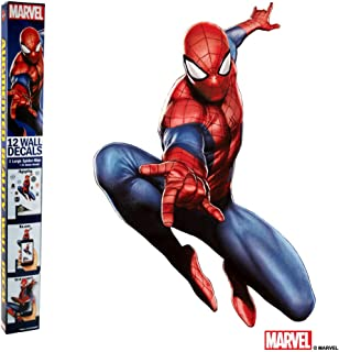 MARVEL SPIDER-MAN VINYL STICKERS - 12 Piece Augmented Reality Marvel Stickers for Kids Rooms - Kids Wall Decals For Bedroom Are Easy To Put Up On Wall & Peel Off - Best Bedroom Décor for Kids