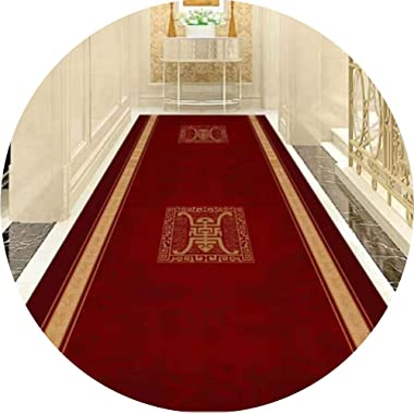 JIAJUAN Hallway Runner Rug Dark Red Non Skid Indoor Traditional Living Room Bedroom Entrance Carpet for High-Traffic Areas (C