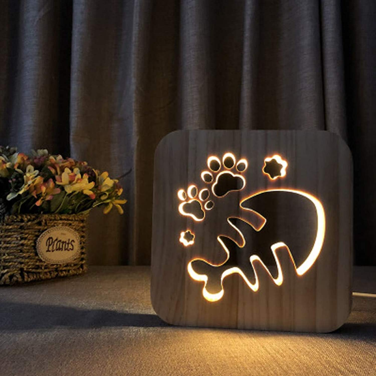 KKXXYD Wood Exquisite Hollow Carving Night Light Cartoon Design A Variety of Styles USB Power Led Night Lamp