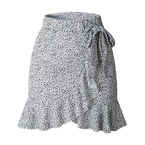 NOBRAND Verano Mujer Leopardo Corto Mini Faldas Volantes Irregular Casual Cintura Alta Encaje Apretado A Linea Faldas