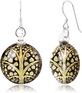 Sterling Silver Hand Blown Glass Buddhism Bodhi Peepal Tree Round Dangle Earrings, Color Variations