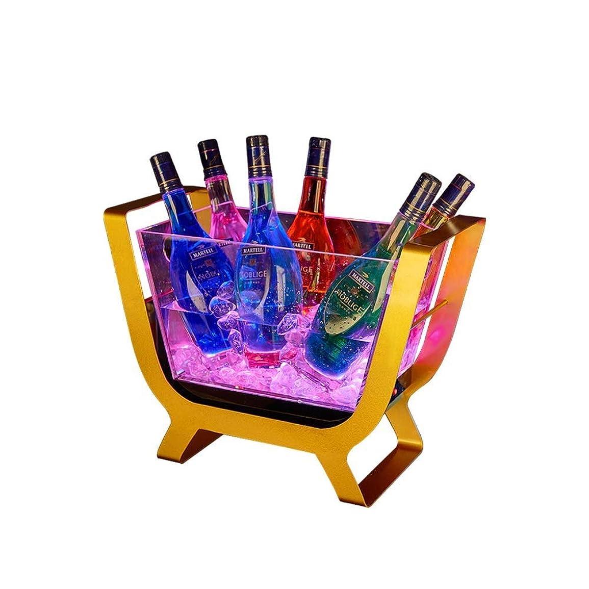見落とす縫い目試みるLEDライトアイスペール、バーパーティーアイスペール充電透明アクリル冷却バケット用大容量シャンパンバレル (色 : Ice bucket*2)
