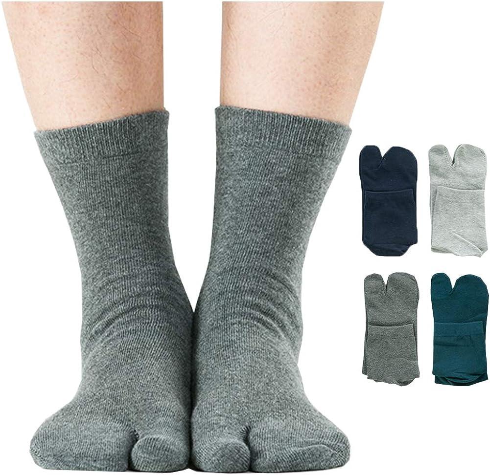 Men's Flip Flop Socks Tabi Split Toe Geta Wicking Cotton Pack of 4