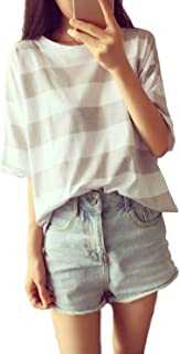 [SeBeliev(シービリーヴ)] ゆったり ボーダー Tシャツ 無地 インナー カジュアル シャツ シンプル 良質素材 部屋着 吸汗速乾