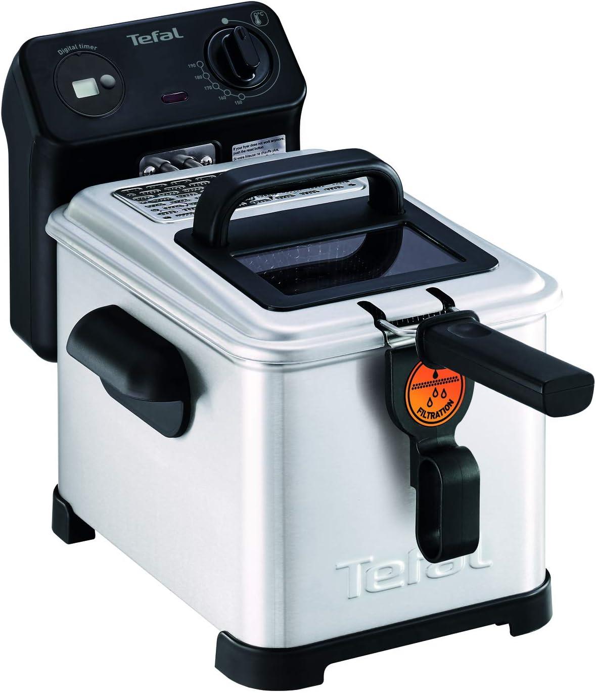 Tefal FR516070 Freidora Pro Premium Eco 4L Digital, Sistema de filtrado, Malla Filtro, Ventana Cristal para Ver la coción, fácil de Usar y de Limpiar, 2400 W, 4 litros, Negro, Acero Inoxidable