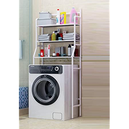 Lukzer Storage Rack Shelf Over Washing Machine Adjustable Standing Organizer 3 Tier Non Slip/Over The Toilet Rack Space Organizer (White / 91.44 x 26.67 x 6.8inch)