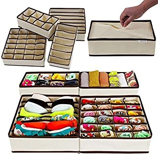 Pindia 4 Piece Fabric Foldable Drawer Dividers
