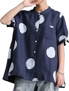 Yesno QR5 Women Shirts Blouse Crop Tops Polka Dots Mandarin Collar A Skirt 100% Linen Hi-Low Hem/Breast Pocket