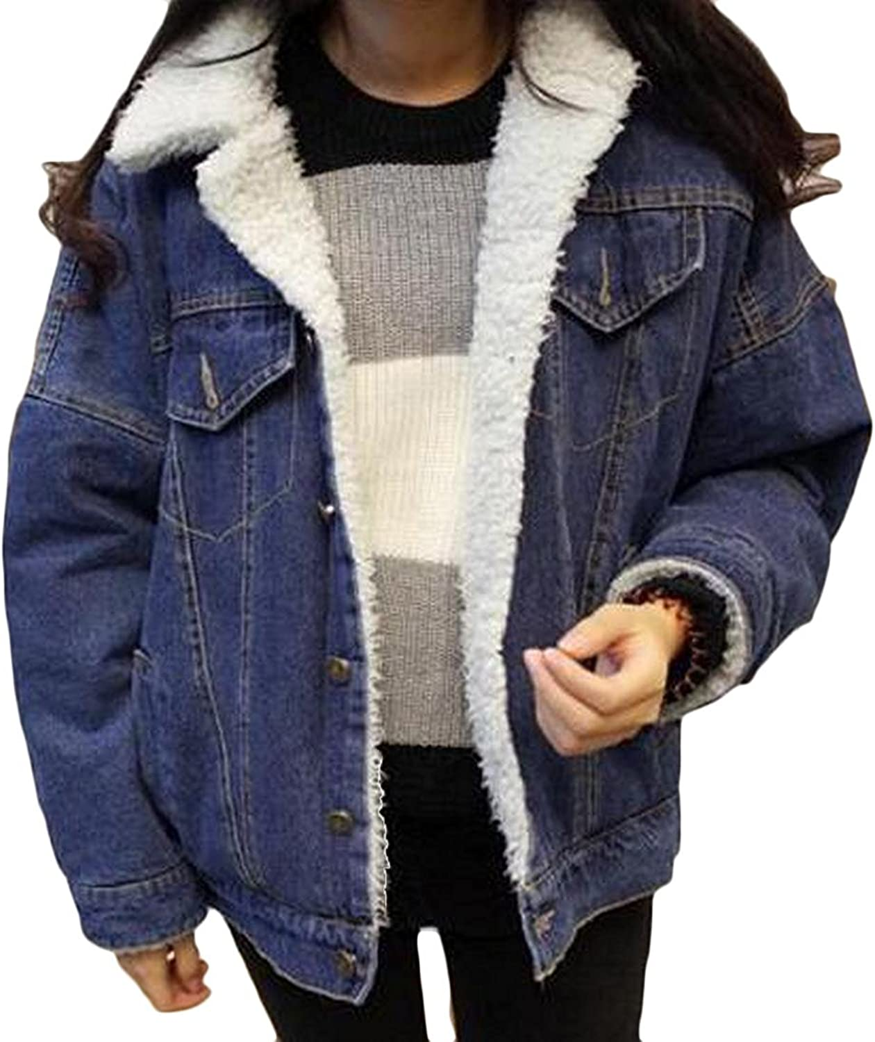 FashionRun Women Winter Coats, Women Thick Warm Fleece Lined Jackets Ladie Denim Long Sleeve Padded Outerwear