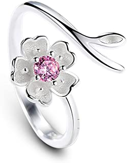 Madeone 18K White Gold Plating Flower Cherry Blossom Adjustable Ring for Women Hypoallergenic with Box Packing