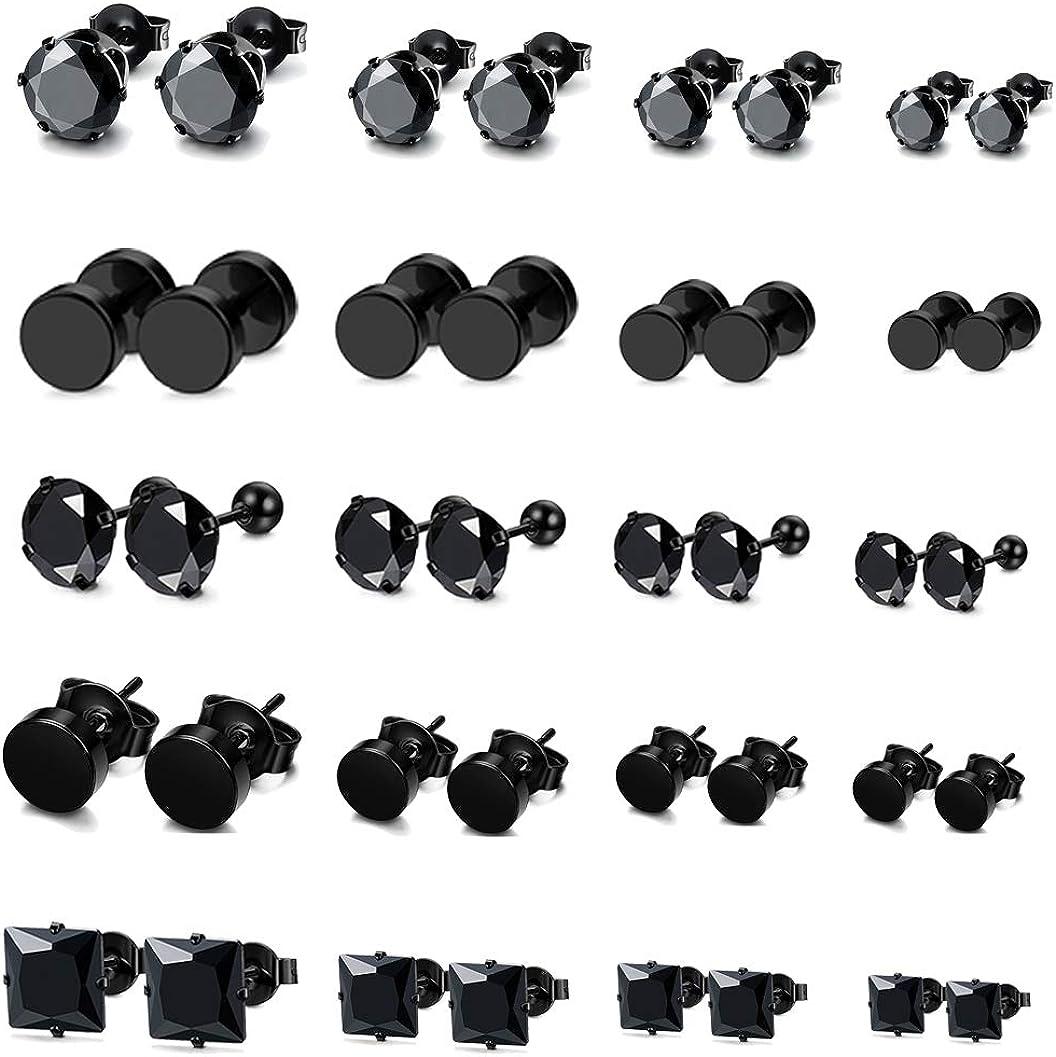FIBO STEEL 20 Pairs Stainless Steel Black Stud Earrings for Men Women Earring Set CZ Inlaid