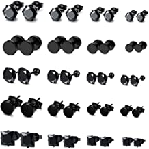 FIBO STEEL 20 Pairs Stainless Steel Black Stud Earrings for Men Women Earring Set CZ Inlaid