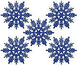Naler 24 Adorno Copo de Nieve de Plástico Adornos Navideños con Purpurina para Decoración Colgante de Árbol de Navidad (10cm, Color Azul Oscuro)