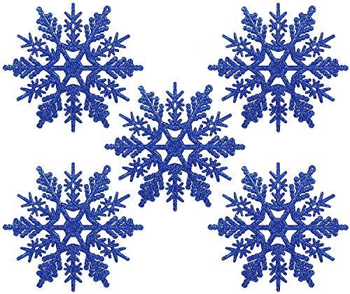 Naler 24 Adorno Copo de Nieve de Plástico Adornos Navideños con Purpurina...