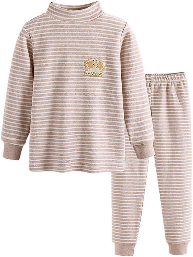 Little Boys Thermal Underwear Boys Long Sleeve Striped Sleepwear Organic Cotton Apparel PJ Set Khaki 8T
