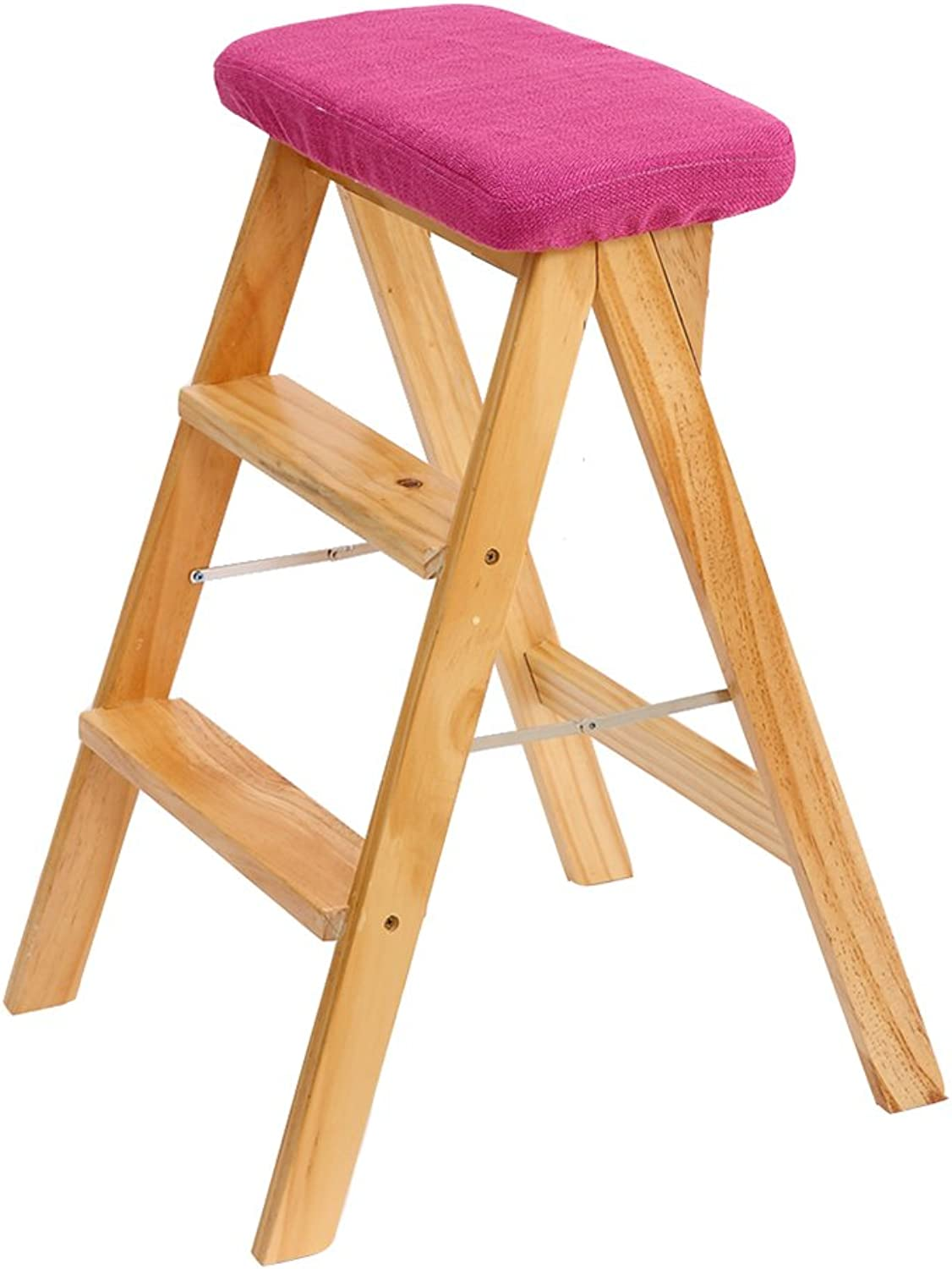 WUFENG Ladder Stool Simple Portable Folding Wooden Bench Step Stool Indoor (color   B, Size   42x49x63cm)