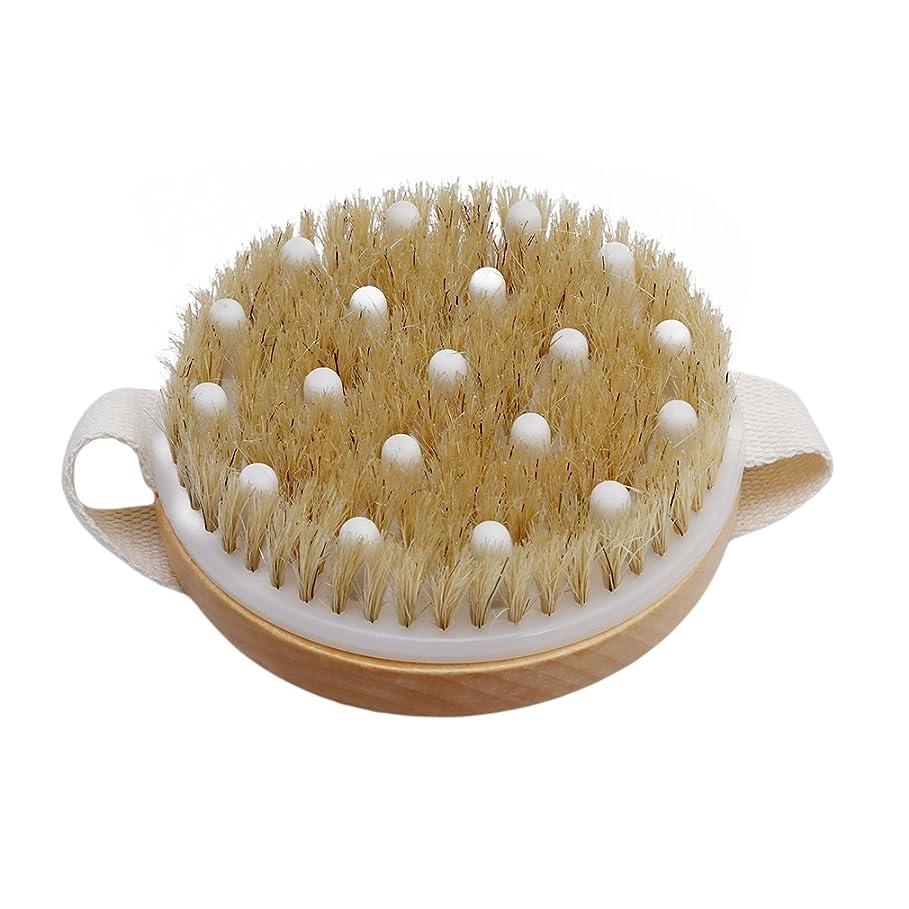 顕著啓発するモックLUXWELL(ラクスウェル) ボディブラシ 天然原木 角質SPA バス用品 お風呂用 豚毛ブラシ 全身マッサージ