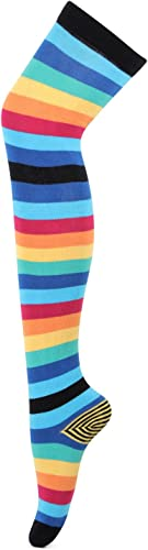 Womens Multicolour Knee High Socks with stripe pattern