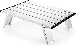 ロールテーブル 400mmx285mm Ohuhu ミニテーブル 軽量 アルミ アウトドア用 折りたたみ式 机 キャンプ BBQ 登山 ツーリング レジャー ケース付 シルバー/ブラック
