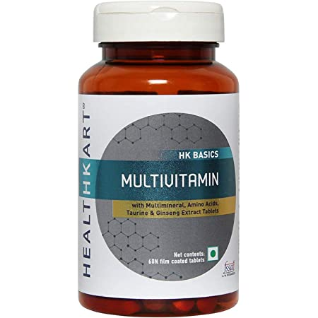 HealthKart Multivitamin for Men and Women, with Ginseng Extract, Taurine and Multiminerals (Multivitamin, 60 capsules)