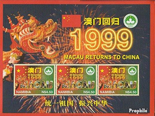 Namibia - Sydväst 904Klb Blad (fullständigt utgåva) 1997 Lämna tillbaka macao till Kina (Frimärken för samlare)