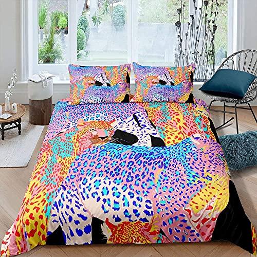 Juego de funda de edredón con diseño de leopardo, colorido guepardo, juego de cama con 2 fundas de almohada, color azul, amarillo
