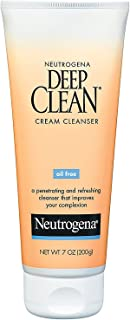 Neutrogena Deep Clean Daily Facial Cream Cleanser with Beta Hydroxy Acid to Remove Dirt, Oil & Makeup, Alcohol-Free, Oil-Free & Non-Comedogenic, 7 fl. oz (Pack of 2)