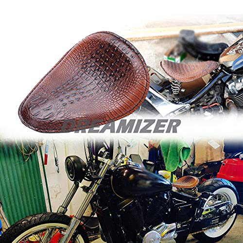 DREAMIZER Motorcycle Crocodile Style Solo Seat Bracket Spring Base Black Bracket Base Compatible with Chopper Bobber Custom Dyna Shadow Spirit ACE VT 1100 750 Sportster XL883 XL1200,Brown