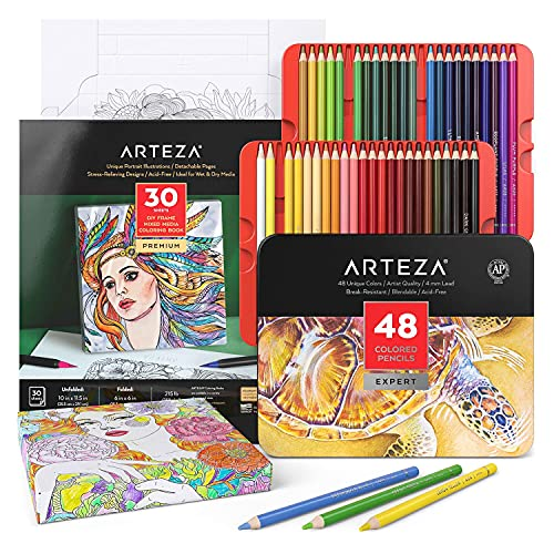 Arteza Colored Pencils and Coloring Book Art Set, 30 Foldable Coloring Sheets...