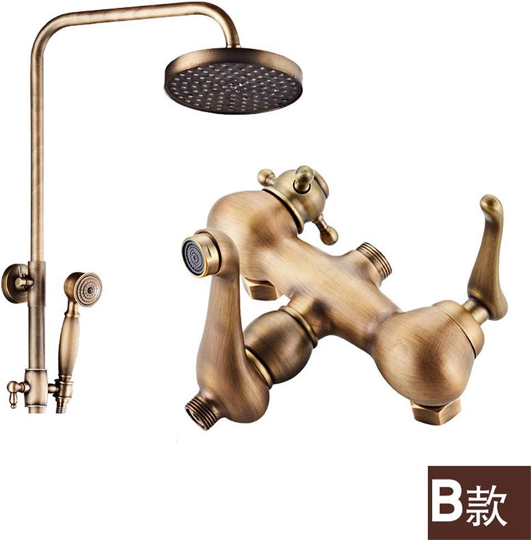 Weacp Dusche Antike Dusche Set Badezimmer Wandmontage Kupfer Dusche heie und kalte Dusche Set, B