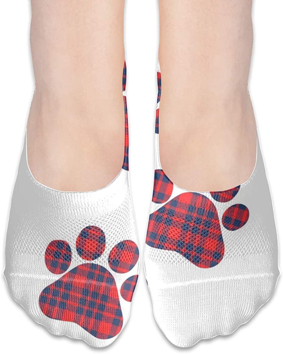 Personalized No Show Socks With Nordic Scottish Plaid Paw Print For Women Men