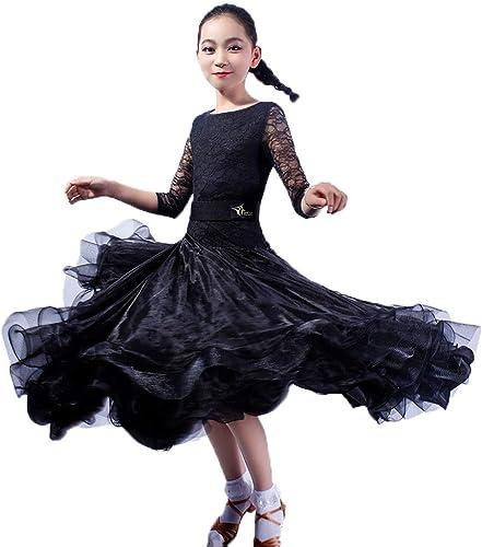 DRESSS Costume de Danse Moderne à Manches Longues en Dentelle pour Enfants