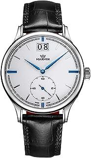 Marvin スイスクォーツ アナログ腕時計 彼と彼女へのギフト カップル用腕時計 レザーバンド 日付機能付き腕時計 男性