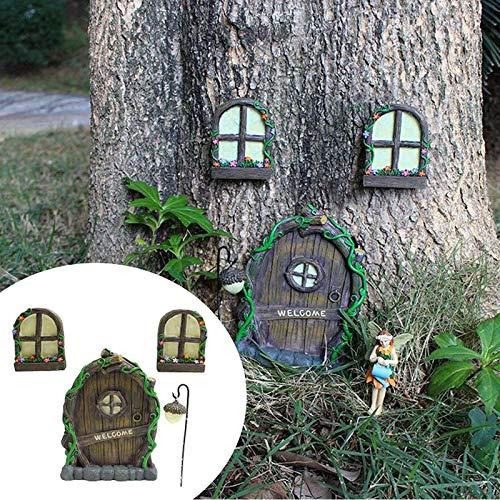 WENLIANG Figuras De Hadas En Miniatura con Ventana Y Puerta Brillante De Color Oscuro Brillante para Puertas De Cristal Y Ventanas, áRbol De DecoracióN A