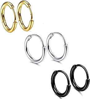 3paia di orecchini a cerchio in acciaio inox per uomo e donna, 18 g, 12mm, per orecchio, piercing al naso, all...