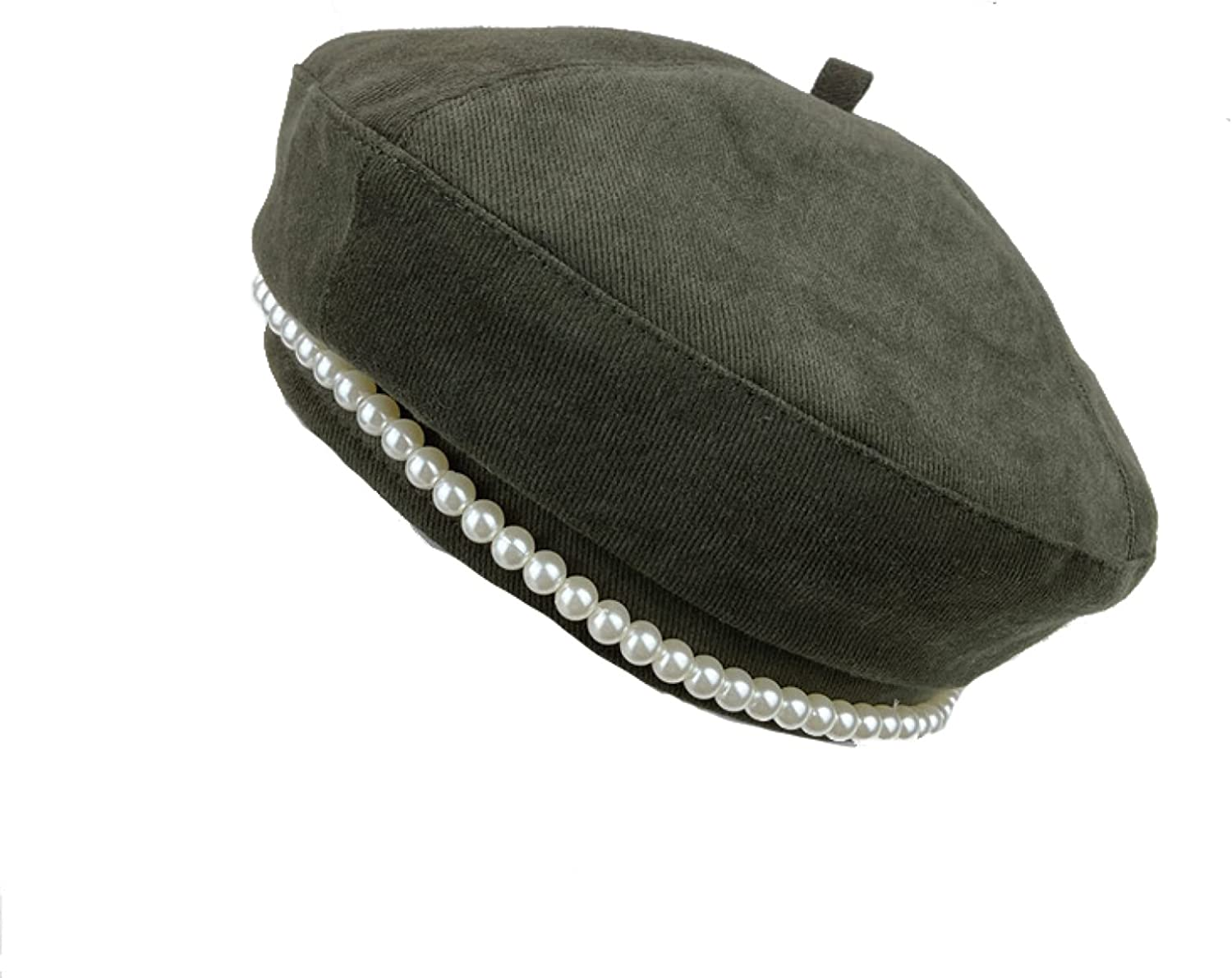 ASO-SLING Women's Cotton Solid Color Berets Hat with Pearl Ladies Girls Beret Cap Cabbie Hats Outdoor Newsboy Caps