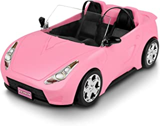AOKESI Convertible Car, Pink Convertible Doll Vehicle with Working Seat Belts Dolls Toy Car for Dolls Accessories Set Great Gift for Girls