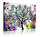 DekoArte 364 - Cuadros Modernos Impresión de Imagen Artística Digitalizada | Lienzo Decorativo Para Tu Salón o Dormitorio | Estilo Abstracto Arte Árbol de la Vida de Gustav Klimt | 1 Piezas 120x80cm