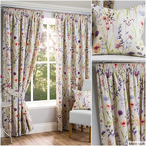 HAMPSHIRE Floral Printed Lined Tape Top Pencil Pleat Curtains Pair Multi Cushion Cover (18' x 18')