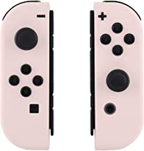 eXtremeRate Soft Touch Grip Sakura Pink Yellow Joycon Handheld Controller Housing with Full Set Buttons, DIY Replacement S...